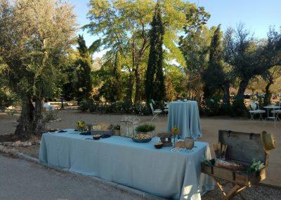 zona de aperitivo en finca de bodas campo y olivo